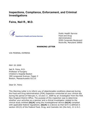fda warning letter to neil r feins md 2009 05 20
