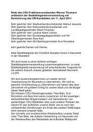 Rede des CSU-Fraktionsvorsitzenden Werner Thumann anlässlich ...