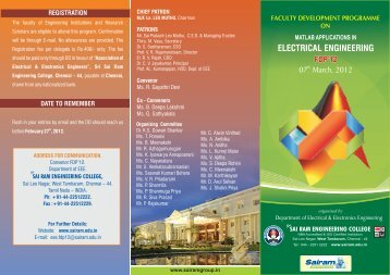 FDP brochure-march-12 - Sri Sai Ram Engineering College in