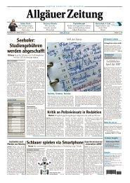 Allgäuer Zeitung, Kempten vom 30.01.2013 - Allgäuer Zeitung als ...