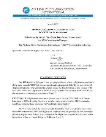 ALPA Clarifying Questions on Application of FAA FTDT