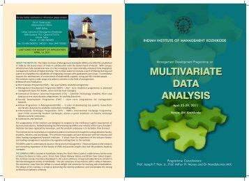 Multivariate Data Analysis - Indian Institute of Management Kozhikode