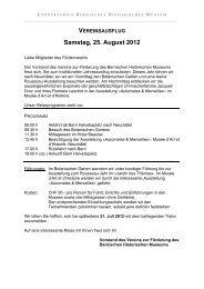 VEREINSAUSFLUG Samstag, 25. August 2012 - Bern, Historisches ...