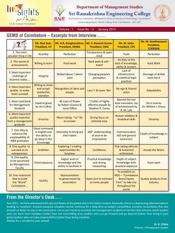 Insights Newsletter - Vol. 1; Issue 2 - Sri Ramakrishna Engineering ...