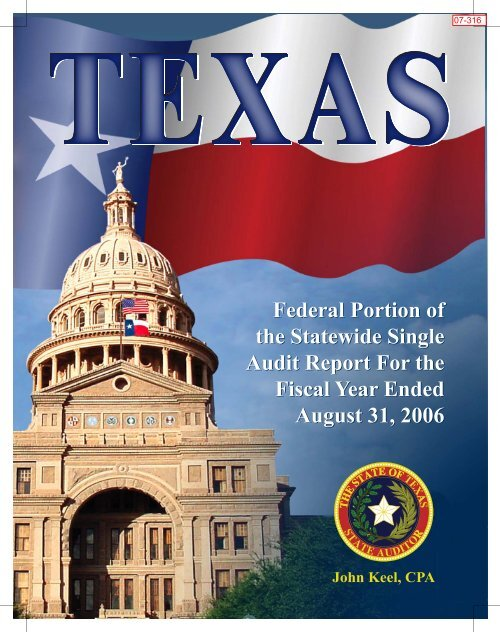 Federal Portion of the Statewide Single Audit Report For the