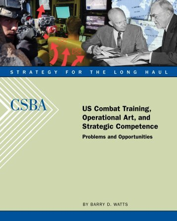 US Combat Training, Operational Art, and Strategic Competence