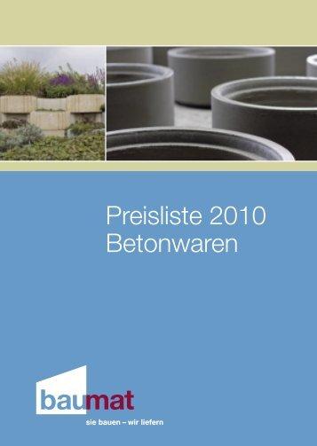 Preisliste 2010 Betonwaren - Baumat AG