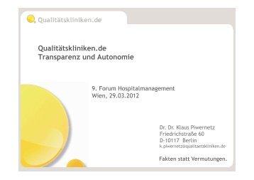 Qualitätskliniken.de Transparenz und Autonomie - Vinzenz Gruppe
