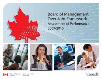 Board of Management Oversight Framework - Agence du revenu du ...