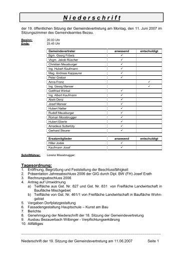 Page 1 Niederschrift der 19. Sitzung der Gemeindevertretung am ...