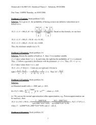 Homework 6 for BST 631: Statistical Theory I – Solutions, 09/28 ...