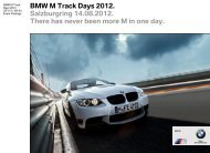 BMW M Track Days 2012. Ablauf. - Auto Walser AG