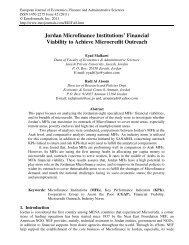 Jordan Microfinance Institutions' Financial Viability to ... - EuroJournals