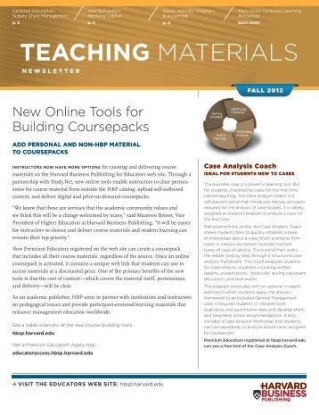 teAcHing MATErIAlS - Harvard Business School Press
