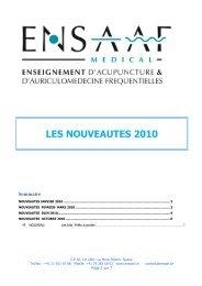 LES NOUVEAUTES 2010 - ENSAAF