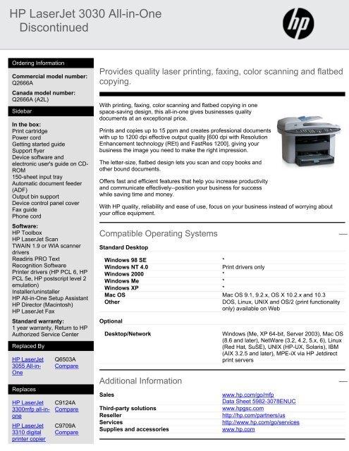 DRIVERS UPDATE: HP LASERJET 3030 PCL6
