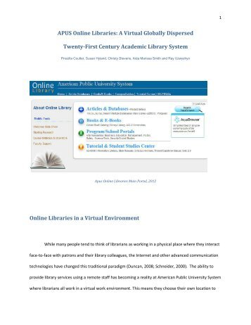 APUS Online Libraries: A Virtual Globally Dispersed Twenty-First ...