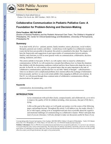 Collaborative Communication in Pediatric Palliative Care - dcppcc