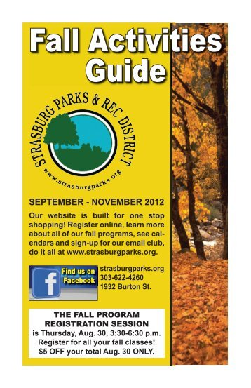 Fall Activities Guide - Strasburg Parks and Recreation District