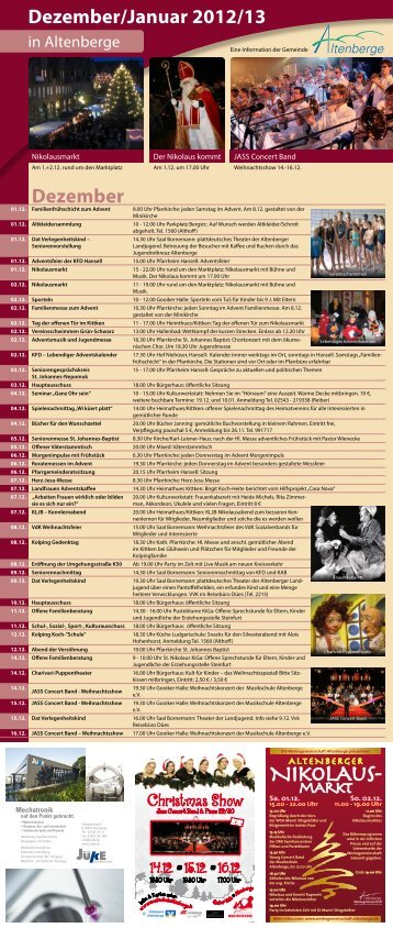 Veranstaltungsflyer Dezember 2012/ Januar 2013 (Printausgabe)