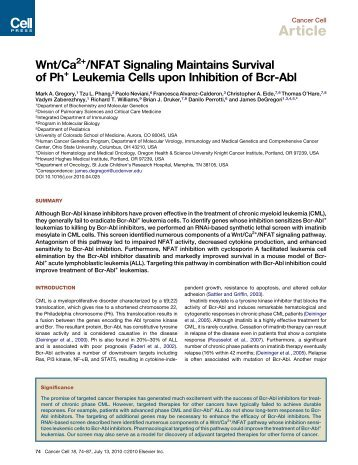 Wnt/Ca2+/NFAT Signaling Maintains Survival of ... - PublicationsList