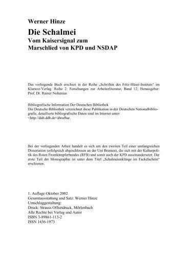 Werner Hinze Die Schalmei - Vom Kaisersignal zum ... - Tonsplitter