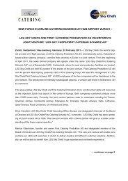 Press Release LSG Sky Chefs First Catering Schweiz
