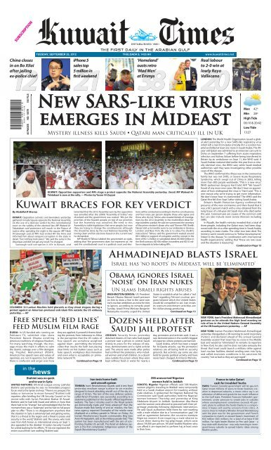 New Sars Like Virus Emerges In Mideast Kuwait Times