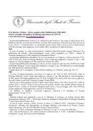 Elenco completo - Dipartimento di Filologia Moderna