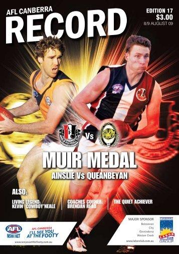 MUIR MEDAL - AFL Canberra