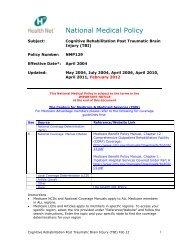 Cognitive Rehabilitation Post Traumatic Brain Injury (TBI) - Health Net