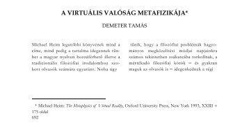 Demeter Tamás A virtuális valóság metafizikája (Michael Heim