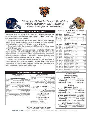 Game Release - Chicago Bears Newsroom