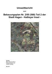 Umweltbericht Bebauungsplan Nr. 2/05 (568) Teil 2 der Stadt Hagen ...