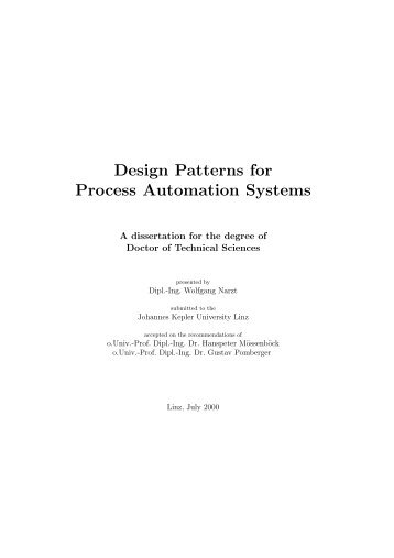 Design Patterns for Process Automation Systems - CiteSeerX