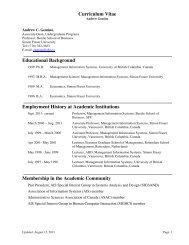 Curriculum Vitae - SFU Beedie School of Business - Simon Fraser ...