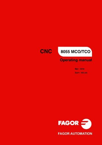 CNC 8055 - Operating manual (MCO/TCO) - Fagor Automation