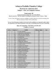 Merit list computer science 2011.pdf - Acharya Prafulla Chandra ...