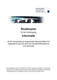Studienplan Informatik - Hochschule Ingolstadt