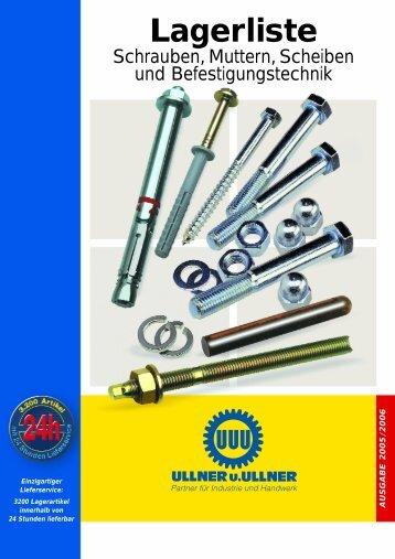 Lagerliste Befestigungstechnik - Ullner u. Ullner