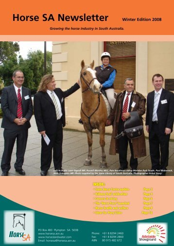 Horse SA Newsletter Winter Edition 2008