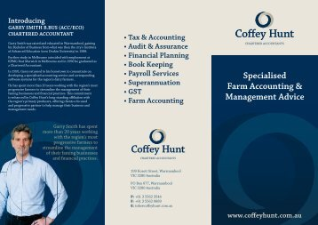 Specialised Farm Accounting & Management Advice - Coffey Hunt