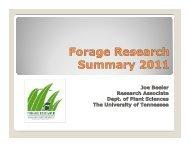 University of Tennessee Forage Research Summary- Joe Beeler
