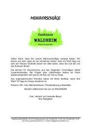 Hauptgerichte vom Rind - Gasthaus Waldheim