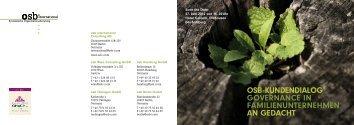 Details siehe Einladung (PDF) - OSB International Consulting AG