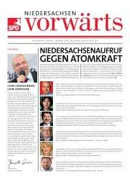 Ausgabe Oktober 2009 des Niedersachsen-Vorwärts als pdf