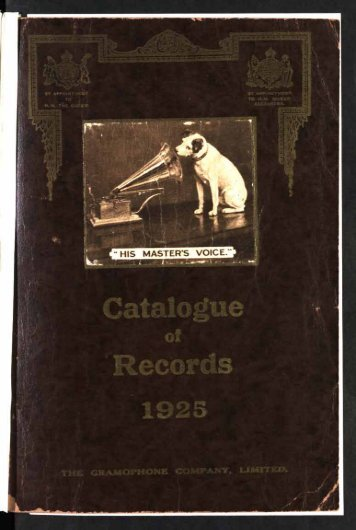 His Master's Voice General Catalogue 1925 - British Library - Sounds