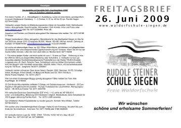Freitagsbrief vom 26.06.2009 - Rudolf-Steiner-Schule Siegen Freie ...