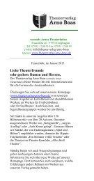 Seit Januar gibt es den neuen Katalog für - Theaterverlag Arno Boas