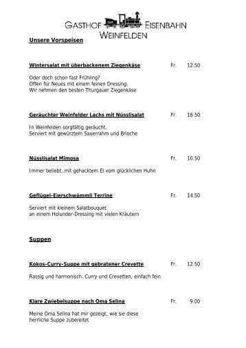 Unsere Vorspeisen Suppen - Gasthof Eisenbahn